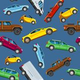 Sealess σχέδιο συλλογής οχημάτων Αστική μεταφορά στο αυτοκίνητο πόλεων Διανυσματική απεικόνιση