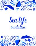 Sealife watercolor hand drawn stylized invitation with decorative top and bottom. Sealife blue watercolor hand drawn stylized invitation with decorative top and Royalty Free Stock Photos