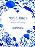 Sealife watercolor hand drawn wedding invitation in heart. Sealife blue watercolor hand drawn stylized wedding invitation in heart stock illustration