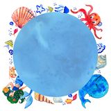Sealife children watercolor hand drawn stylized isolated blue textured round frame with mermaid, whale, octopus, shells and fishes. On white background Royalty Free Stock Images