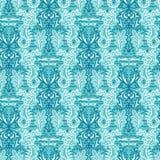 Sealife damast seahorsemodell Sömlös vektorhavbakgrund För havsväxtalger för hand utdraget tryck för natur över hela För sommar vektor illustrationer
