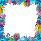 Sealife frame blue. Vector illustration royalty free illustration