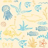 Sealife hand drawn seamless pattern Stock Photo