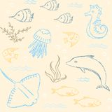 Sealife hand drawn seamless pattern Stock Image