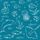 Sealife hand drawn seamless pattern Stock Photos
