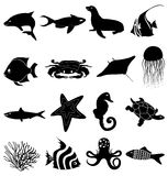 Sealife icons set Royalty Free Stock Photo