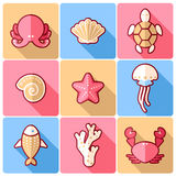 Sealife icons Royalty Free Stock Images