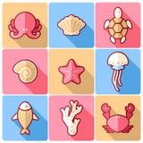 Sealife icons. Set of nine sealife flat colorful icons royalty free illustration