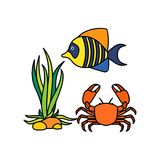 Sealife Logo Template. With Background vector illustration