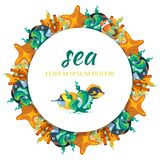 Sealife round banner design - banner with cartoon seaweeds and fish. Vector illustration Royalty Free Stock Photos