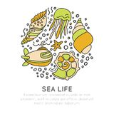 Sealife vector sketched cartoon concept. Seashell, seastar, jellyfish and submarine in one round form with decorative. Elements, bubbles, hand draw traveling Royalty Free Stock Photography