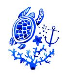 Sealife watercolor hand drawn stylized illustration with turtle. Sealife blue watercolor hand drawn stylized illustration with turtle and anchor royalty free illustration