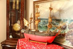 Sealing boat in room Stock Photography