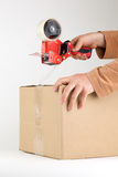 Sealing a box with packing tape. A person is sealing a cardboard box with packaging tape; hands and arms shown with tape gun; isolated on a white background Stock Photo