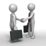 Sealing the Deal. Two 3D cartoon businessmen characters shaking hands in successful agreement Royalty Free Stock Image