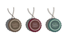 Sealing wax. With text labels 'Quality 100%', 'Best chioice', 'Sale' on them. Vector: EPS 10 file royalty free illustration