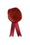 Sealing wax. With ribbons. isolated on white Royalty Free Stock Photos