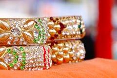 Sealing Wax Bangles. Beautiful portrait of Sealing Wax Bangles, made of Sealing wax & decorated with artificial diamonds & gems. Wear on wrist by Indian girls & stock image