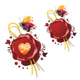 Sealing wax with heart Royalty Free Stock Photography