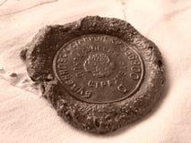 Sealing wax stamp. Sepia toned real russian postal sealing wax stamp stock photography