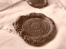 Sealing wax stamp. Real russian postal sealing wax stamp stock photo