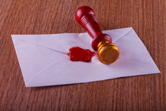 Sealing wax stamp on a letter Stock Photos