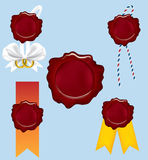 Seals. Five wax seal with string and ribbons Royalty Free Stock Images