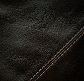 Seam on the black leather Royalty Free Stock Images