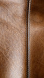 Seam on the brown leather Royalty Free Stock Image