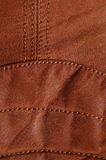 Seam in brown leather jacket II Royalty Free Stock Image