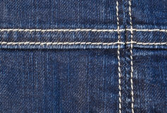 Seam on denim Royalty Free Stock Photo