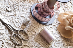 Seam and embroidering. Composition with seam and embroidering instruments Stock Photos