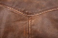 Seam on leather product. Scratched worn leather texture with seam stock photography