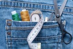 Seam Ripper, Thread, Centimeter Tape, Thimble, Pins, Scissors In Stock Photography