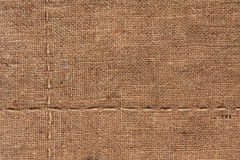 Seam on sackcloth Stock Photography