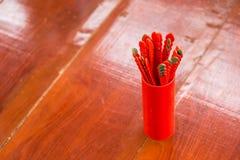 Seam-Si, Chi-Chi Sticks or fortune sticks, shake for future fore. At shrine in Thailand Stock Photo