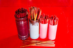 Seam-Si, Chi-Chi Sticks or fortune sticks, shake for future fore. At shrine in Thailand Royalty Free Stock Photos