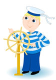 Seaman. Boy in a sea stripped vest operates a wheel. On white. Vector illustration Stock Photos