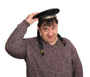 Seaman. A man is in the service cap of seaman Stock Image