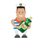 Seaman with bottle of rum Royalty Free Stock Photography