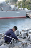 Seaman on the frigate Stock Images