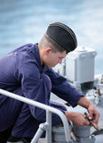 Seaman on the frigate Royalty Free Stock Image