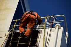 Seaman going down the Jacob`s ladder stock photos