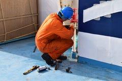 Seaman making maintenance stock photography