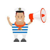 Seaman with megaphone Royalty Free Stock Image