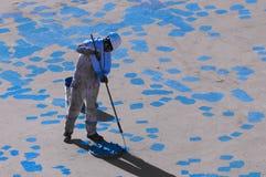 Seaman Painting His Ship joven Fotografía de archivo