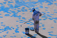 Seaman Painting His Ship novo foto de stock