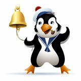 Seaman Penguin. In sailor cap rings a noon bell. Illustration drawn in cartoon style Stock Photos