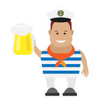 Seaman with pint. Illustration of seaman on white background Royalty Free Stock Images