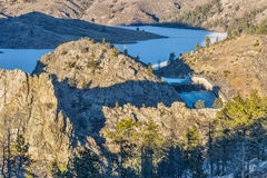 Seaman Reservoir in Rocky Mountains Stock Fotografie